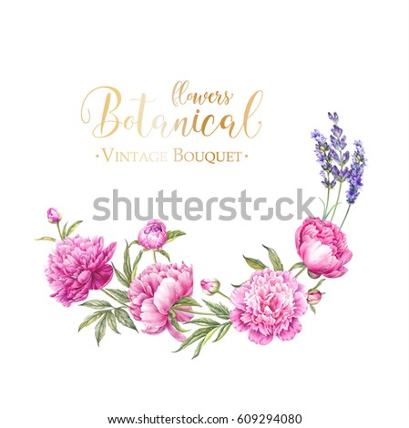 Bouquet of rose. Invitation card for wedding, birthday and other holiday and summer background. Botanical illustration. Blooming lavender. #609294080