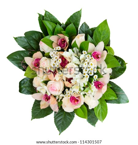 Bouquet of roses and orchids isolated on white background