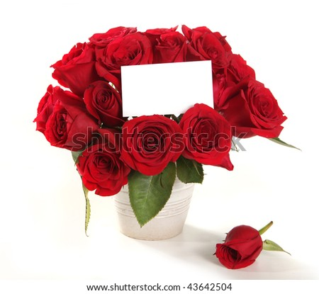 Bouquet of Roses in a Pot With Blank Message Sign for Your Text or Message - stock photo