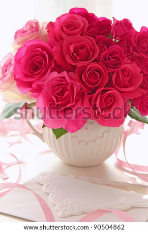 Bouquet of roses in vase for valentine's day
