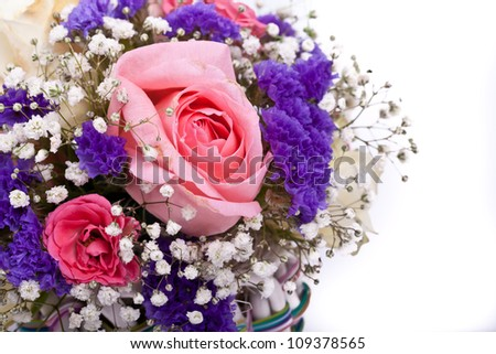 bouquet of roses, iris, gerbera on a white background