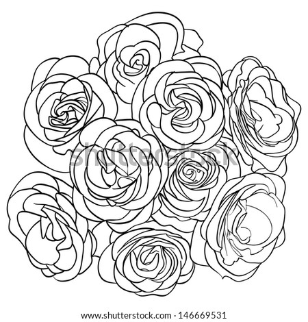 bouquet of roses. outline