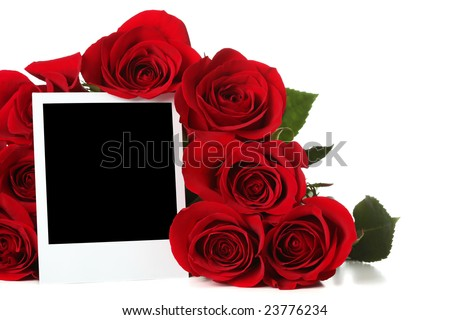 Bouquet of roses with empty photo