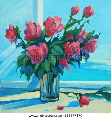 bouquet of scarlet roses at  open window with a view of the sea, painting,  illustration