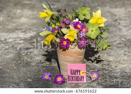 bouquet of spring flowers and narcissus   with happy birthday card