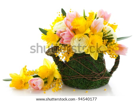 bouquet of spring flowers for Easter
