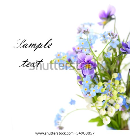 Bouquet of spring flowers on white isolated background.Floral border.