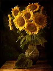 Bouquet of sunflowers in a jug