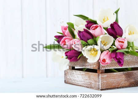 Bouquet of tulips on a wall paneling background #722632099