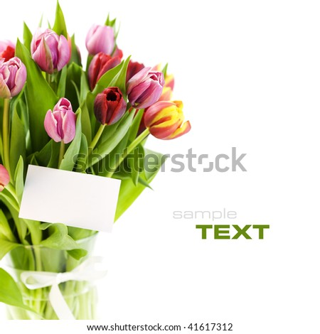 bouquet of tulips with a blank gift card on white background. With sample text