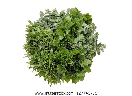 bouquet of variety fresh herbs isolated on white background,  marjoram,  peppermint, mint, hyssop.
