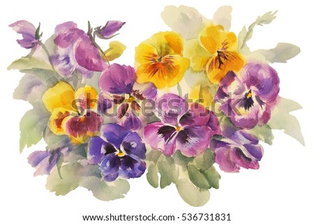 Stock Photo bouquet of violas watercolor isolated