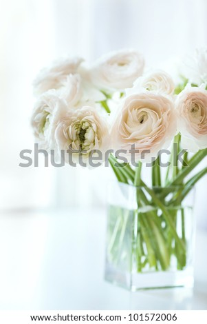Bouquet of white ranunculus in a glass vase near the window, vertical photo