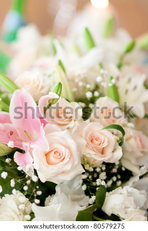 Bouquet of white roses for wedding.