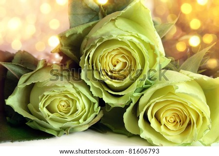 Bouquet of white roses on a bright background