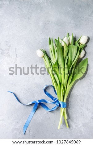 bouquet of white spring tulips...
