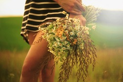 bouquet of wild field flowers and herbs in girl's hand