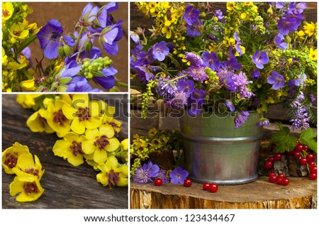 bouquet of wild flowers in a bucket
