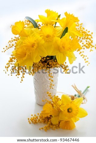 bouquet of  yellow narcissus and mimosa