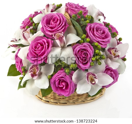 bouquet of yellow roses in basket  on white background