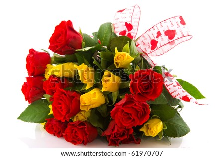 Bouquet red and yellow roses to give for love