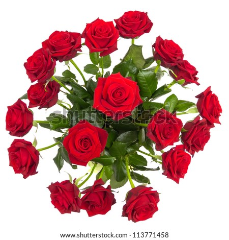 Bouquet roses isolated on white top view - stock photo