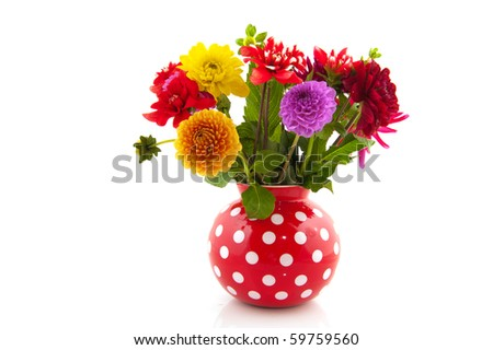 Bouquet with colorful different Dahlias in red dotted vase