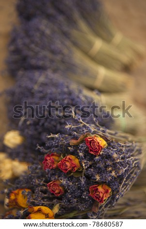 Bouquets of roses and lavender in a market