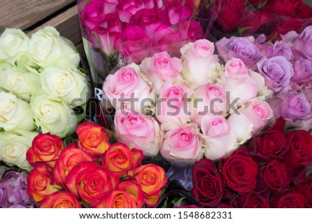 Bouquets of roses, white roses, yellow roses, many roses