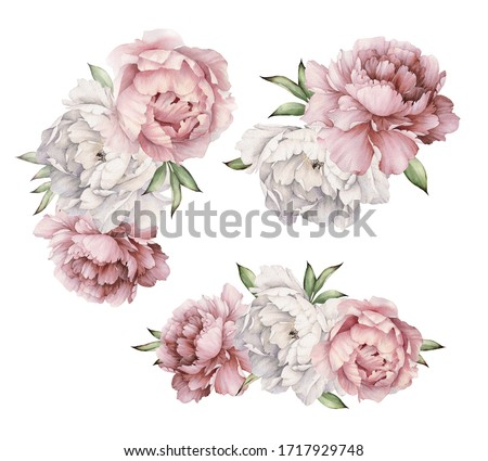 Bouquets with peonies, can be used as greeting card, invitation card for wedding, birthday and other holiday and  summer background. Watercolor illustration