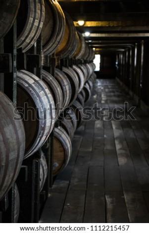 Bourbon Barrels in Rickhouse #1112215457