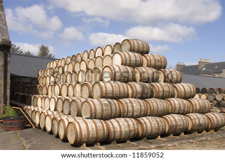 Bourbon Barrels stacked up in the yard of a Scottish distillery ready for use