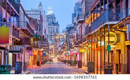 Bourbon St, New Orleans, Louisiana, USA cityscape of bars and restaurants at twilight. Сток-фото ©