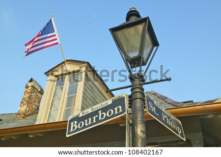 Bourbon Street and Lamp post in French Quarter of New Orleans, Louisiana