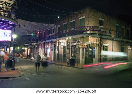 Bourbon Street and St. Peter at night I