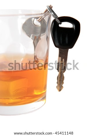 bourbon with keys inside glass on white background depicting drunk driving and addictions can kill