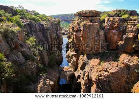 Bourke's Luck Potholes geological formation in the Blyde River Canyon area, Mpumalanga district, South Africa #1089912161