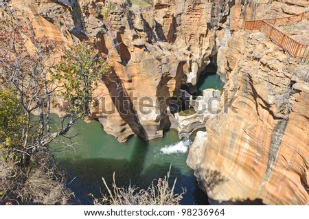 Bourke's Luck Potholes in Blyde River Canyon - This natural water feature marks the beginning of the Blyde River Canyon in Mpumalanga region of South Africa