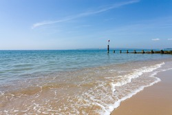 Bournemouth beach, Dorset on the English south coast in summer.