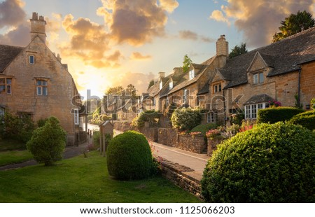 Photo of  Bourton on the Hill village near Moreton in Marsh, Cotswolds, Gloucestershire, England.