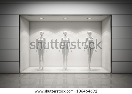 Boutique display window with mannequins