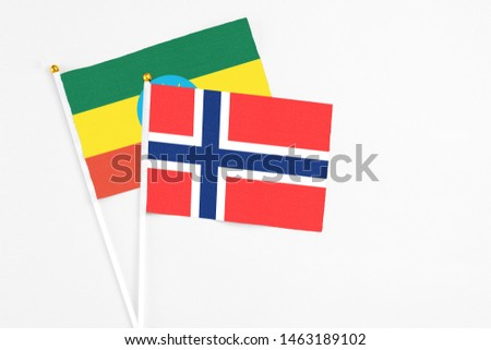 Bouvet Islands and Ethiopia stick flags on white background. High quality fabric, miniature national flag. Peaceful global concept.White floor for copy space. #1463189102
