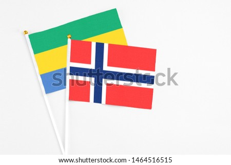 Bouvet Islands and Gabon stick flags on white background. High quality fabric, miniature national flag. Peaceful global concept.White floor for copy space. #1464516515