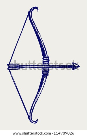 Bow and arrow. Doodle style. Raster version