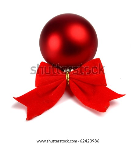 bow and christmas ball decoration for a new-year tree isolated on white background - stock photo