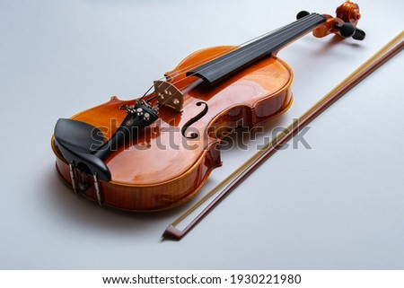 bow and violin isolated on white musical wood Сток-фото ©