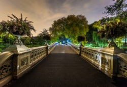 Bow bridge at night in Central Park New York landmark