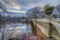 Bow bridge, Central Park, New York City after snow storm
