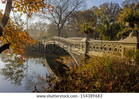 Bow bridge in autumn Central Park, New York City