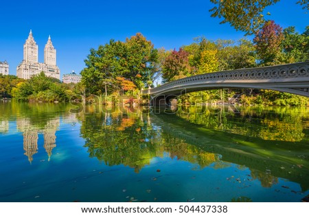 Bow bridge in Central park at Autumn sunny day, New York City - Shutterstock ID 504437338